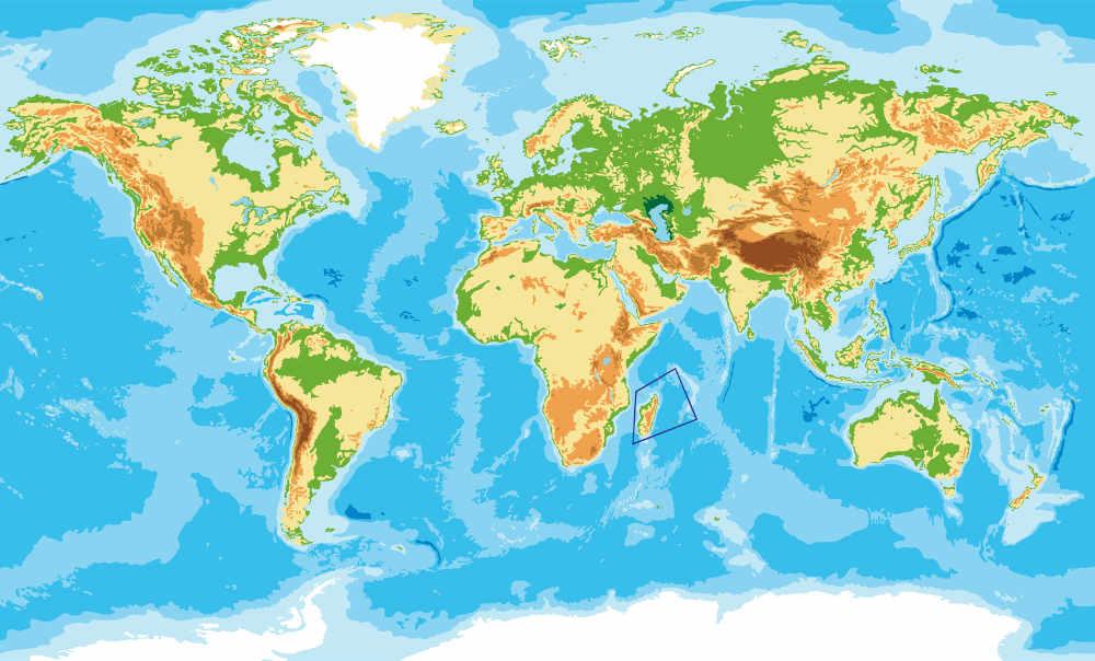 Géographie : carte du trapèze des mascareignes