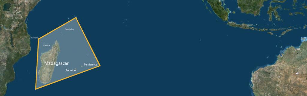 Carte du trapèze des Masacareignes dans l'océan indien