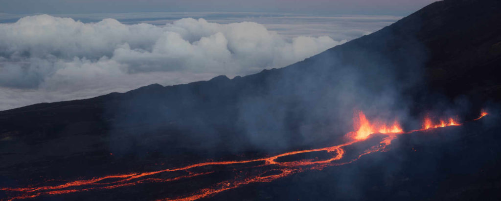 Volcan éruption Trapèze des Mascareignes
