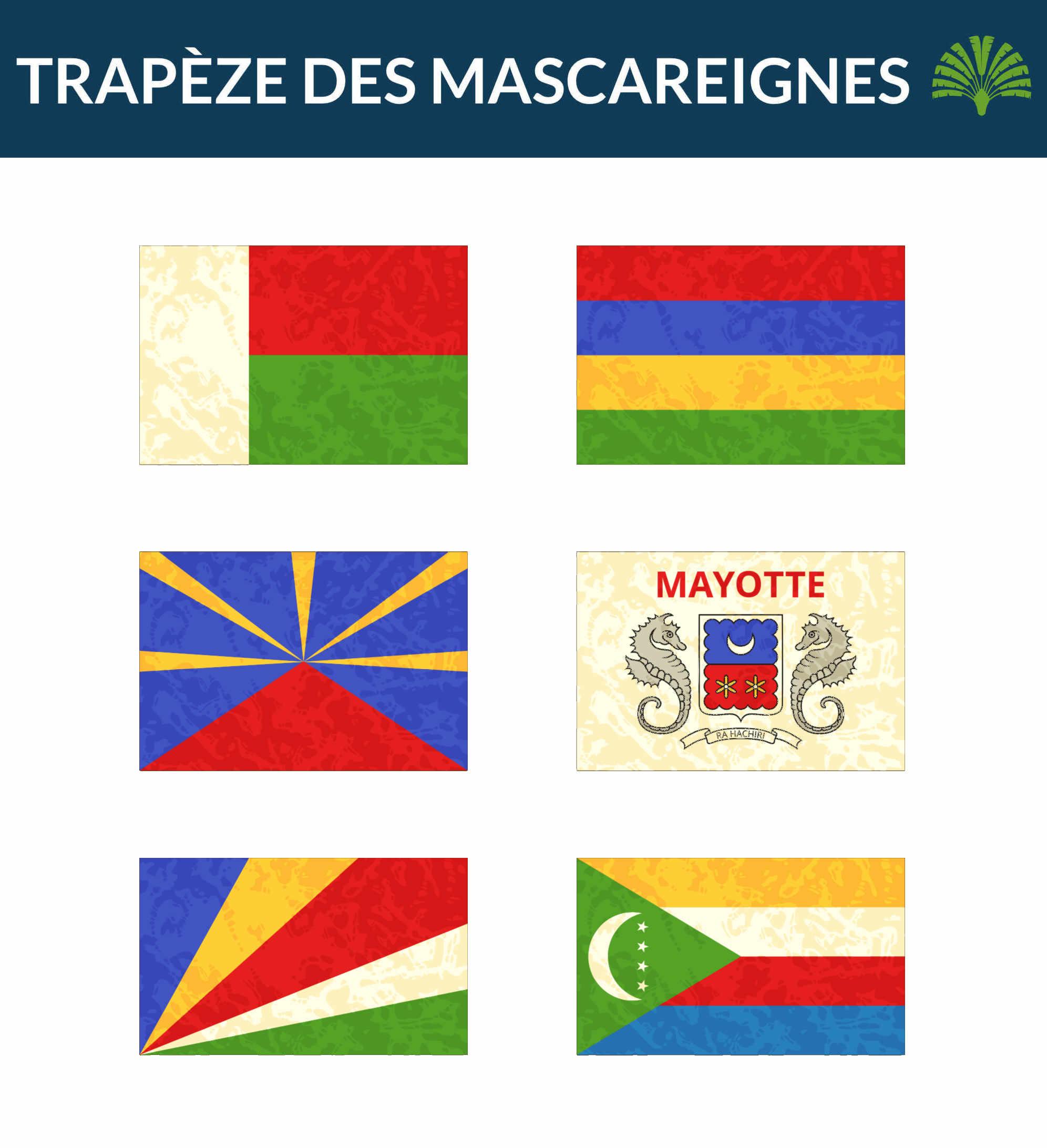 Drapeaux des Iles Trapèze des Mascareignes